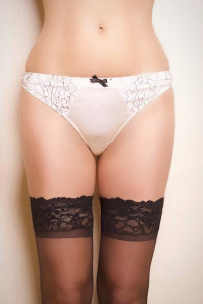 Parisian Rendevous Ivory Silk and Black Lace Thong (Heritage Collection), Thongs - Miss Photogenic