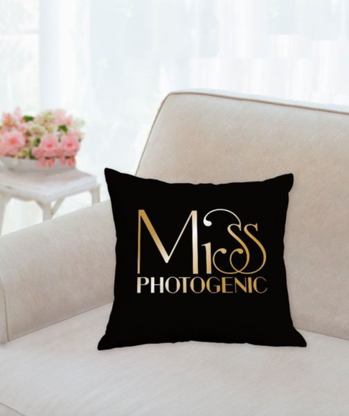 Miss Photogenic® Black & Gold Classic Logo Scatter Cushion, cushion - Miss Photogenic