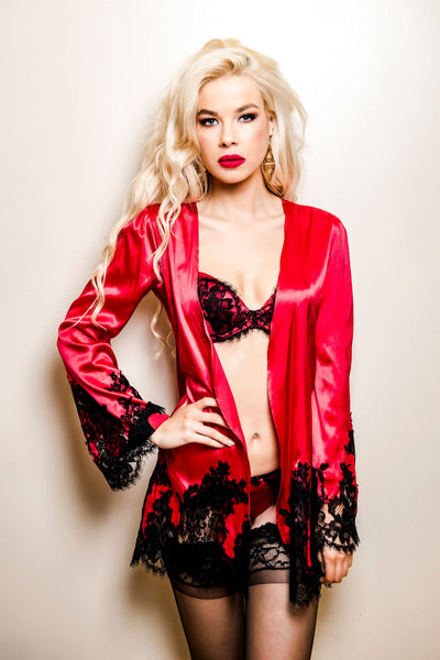 Appassionata Red Silk and Black Lace Robe, Kimonos - Miss Photogenic