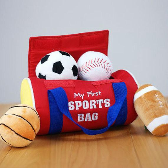 Personalized baby girl and baby boy gifts grogans mill gifts baby sports bag with baseball basketball football soccer ball name embroidered on negle Gallery