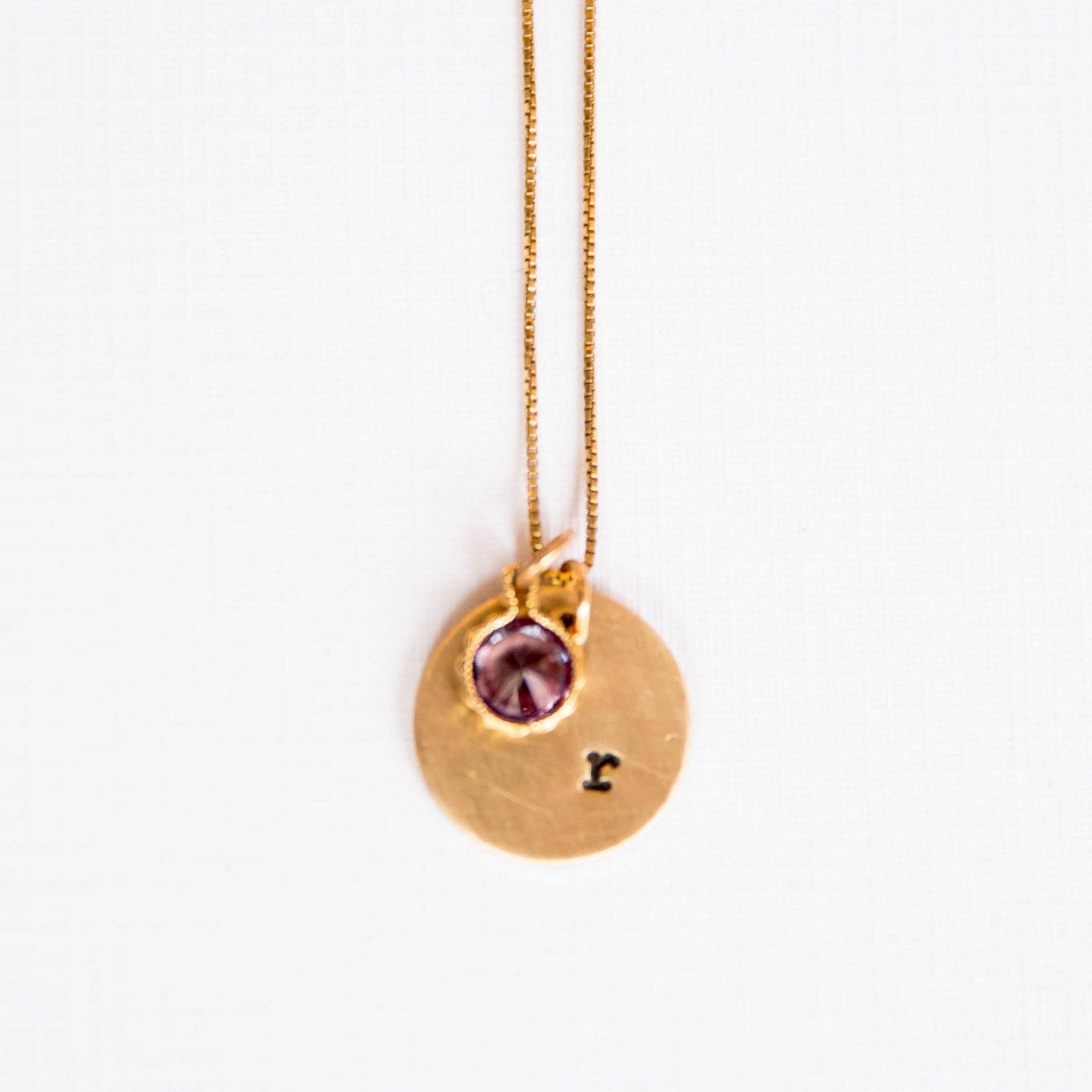 Sympathy gifts memorial gifts bereavement gifts condolence initial necklace with birthstone grogans mill gifts negle Image collections