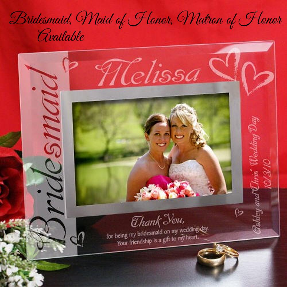 Bridesmaid Gift Ideas - Engraved Glass Photo Frame - PERSONALIZED ...