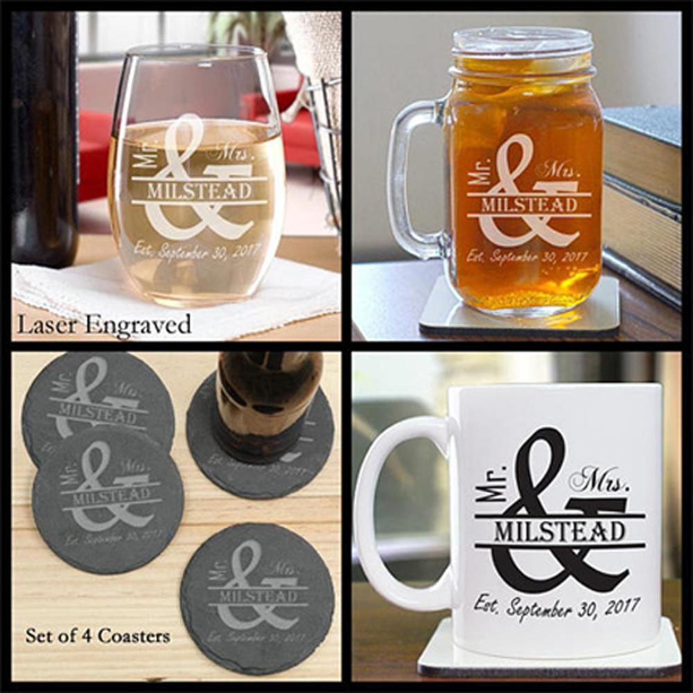 Gift ideas for couples cute couple gifts grogans mill gifts couples gift ideas wine glass mason jar coasters coffee mug personalized negle Images