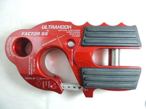 UltraHook Winch Hook W/Shackle Mount by Factor 55 Red Powdercoat at KxK Industries LLC