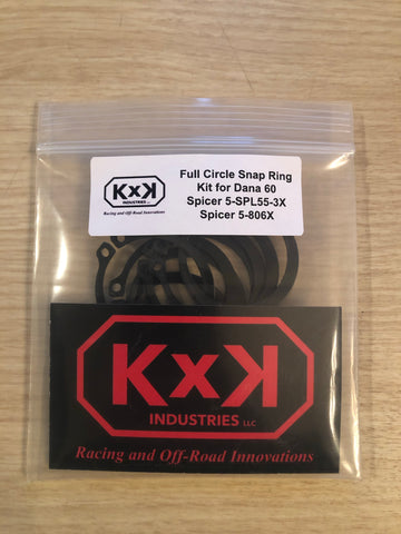 Full Circle Snap Ring Kit - Dana 60 Axles 5-SPL55-3x 5-806x U Joint 8pc