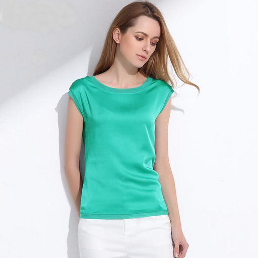 Summer women blouses 2017 new casual chiffon silk blouse slim sleeveless O-neck