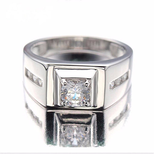 925 Sterling Silver Rings Men 2017 Fashion Punk Jewelry Cubic Zirconia