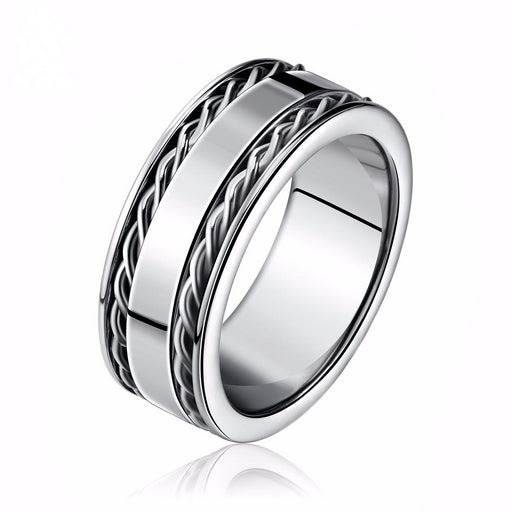 Men's Double Twist Chain Rings 316 Stainless Steel Cool Men Fashion Silver Color Ring