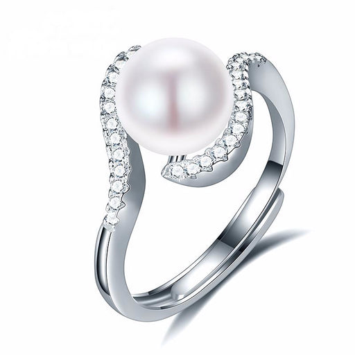 8-9mm Pearl Rings For Women White Fashion Natural Freshwater Pearl 925 Silver Ring
