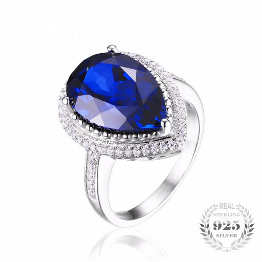 Charm 7ct Water Drop Cut Created Sapphire Ring Women Pure 925 Sterling Silver Luxury Hot Sale