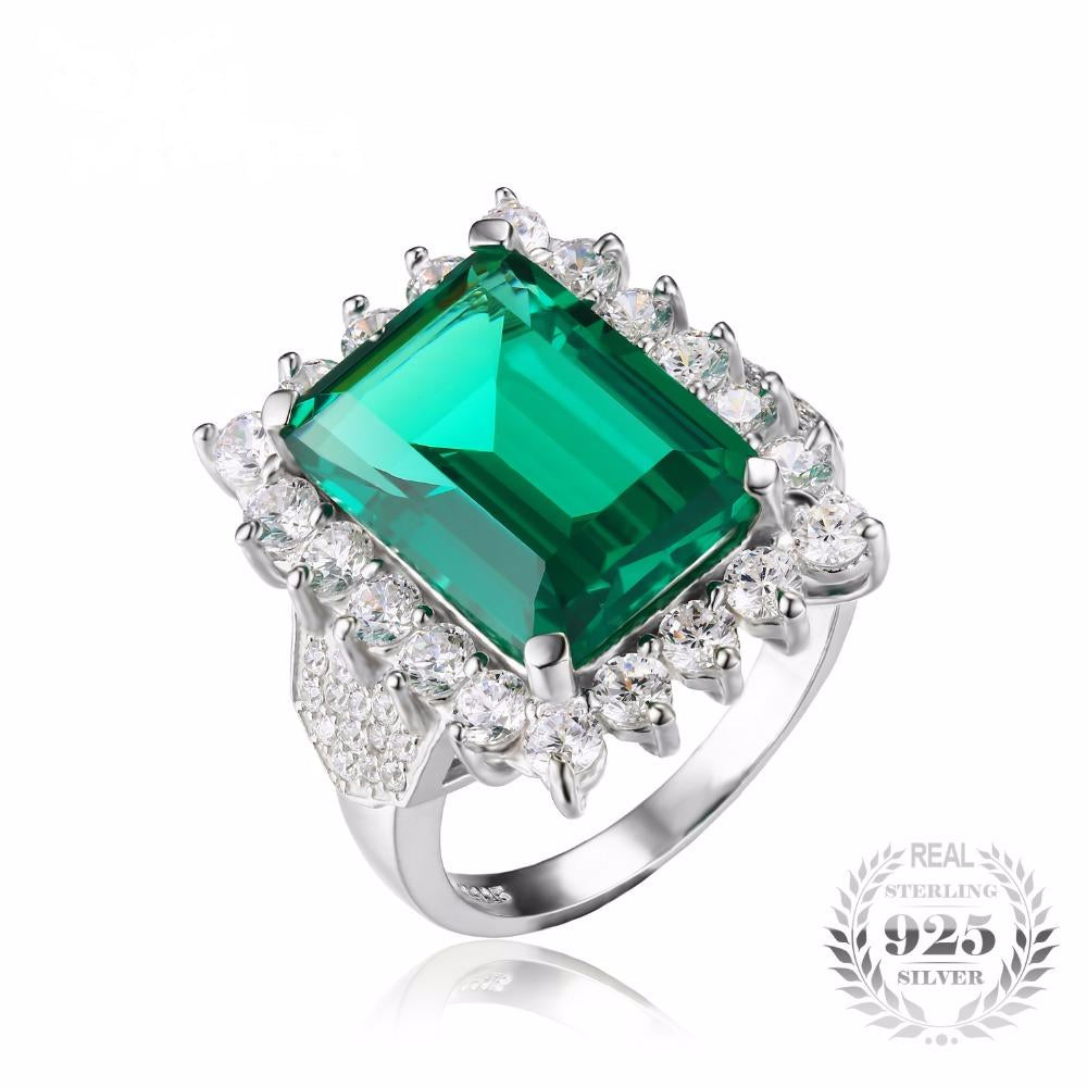 Luxury 6ct Created Emerald Solid 925 Sterling Silver Ring for Women