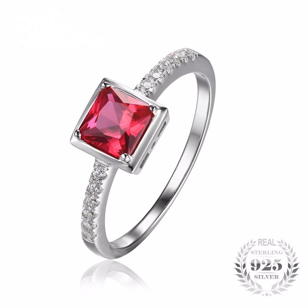 0.8ct Square Pigeon Blood Ruby Ring Solid 925 Sterling Silver Ring For Women