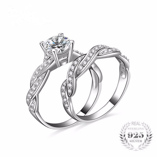 1.5ct Zircon Wedding Band Ring Bridal Sets 925 Sterling Silver