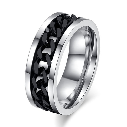Spinner Black Chain Ring for Men Punk Titanium Steel Metal Finger Jewelry