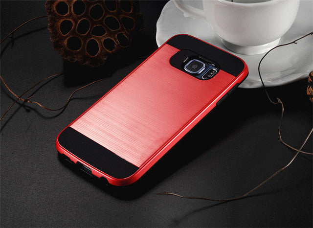 NEW Hybrid V5 brushed Slim Hard Armor Back Cover Case For Samsung Galaxy S5 S6 S7 edge / S8 S8 Plus Silicon
