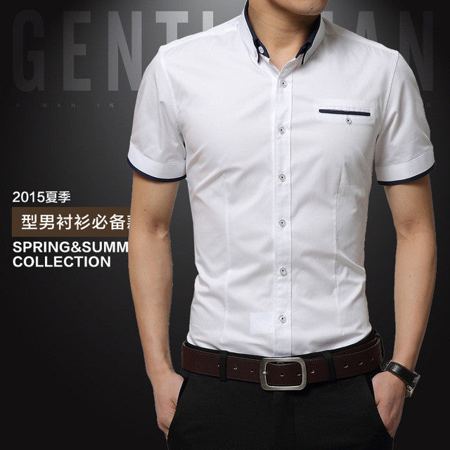 Men's Summer Business Shirt Short Sleeves Turn-down Collar Tuxedo Shirt