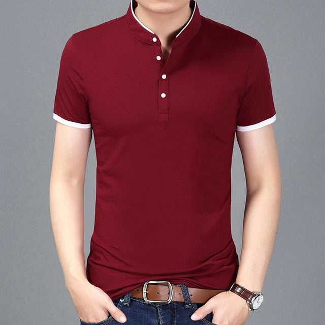 2017 Summer New Fashion Brand Clothing Tshirt Men Solid Color Slim Fit Short Sleeve