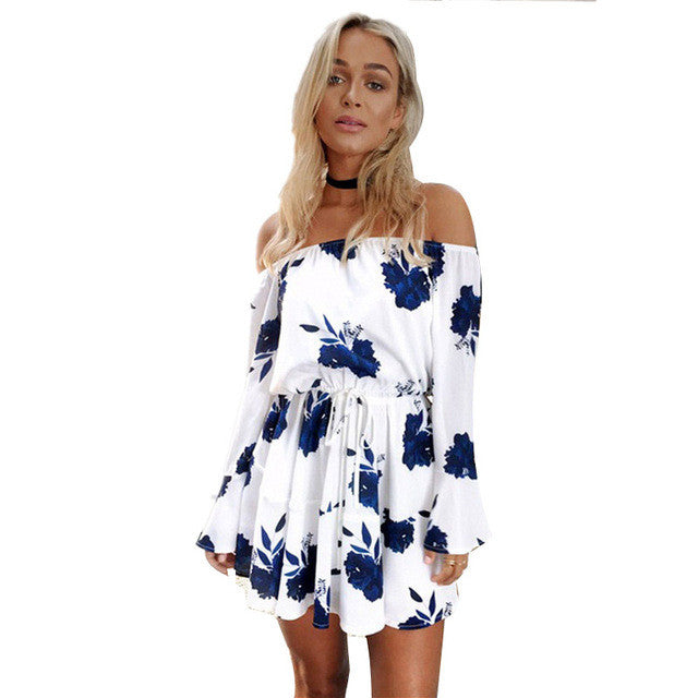 Sexy Off Shoulder Slash Neck Office Dress 2017 Summer Floral Print Beach Dress Casual Flare Sleeve for Women