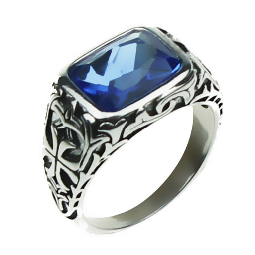 Real Pure 925 Sterling Silver Rings For Men Blue Natural Crystal Stone