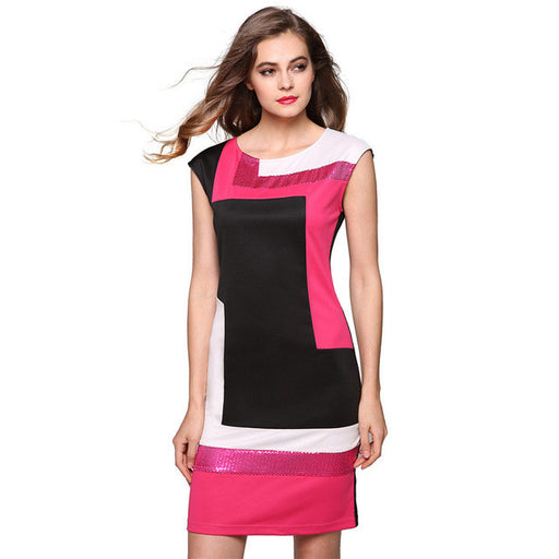 Women Fashion Sexy Dress Vestidos Geometrical Patchwork Contrast Color Short Sleeve O-neck Pencil