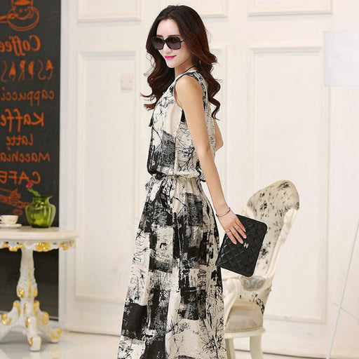 Elegant Women Cotton Linen Dress Female Summer Casual Long Dress Vintage Floral Dresses Sleeveless