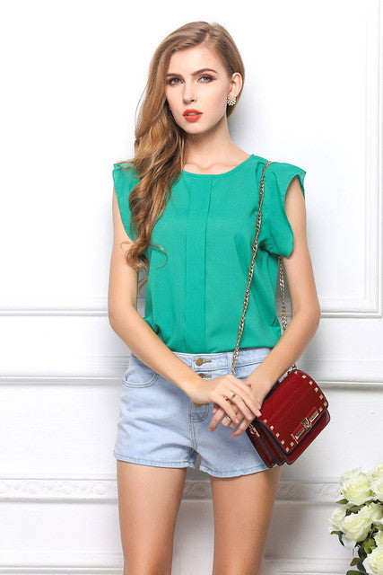 2018 Fashion Short Butterfly Sleeve Women Blouses Clothing Casual