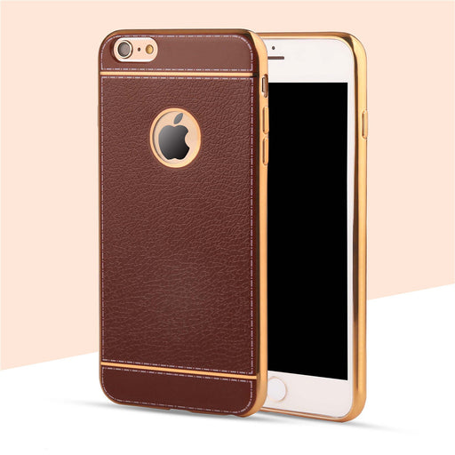 Luxury Leather Pattern Soft Silicone Case For iPhone 6 6s 7 Plus Ultra Thin Plating Frame Phone Cases bag Cover Fundas