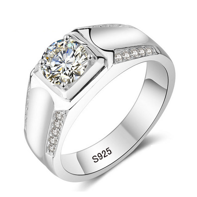 100% Real Solid Silver Rings Set Sona CZ Diamant