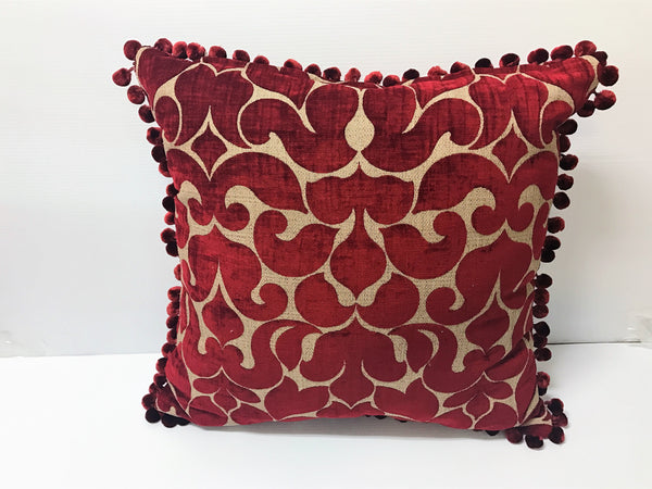 Soft Red/Gold Square Pillow