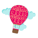 A fanciful illustration of a hot air balloon, featuring a red balloon with blue clouds in the back.