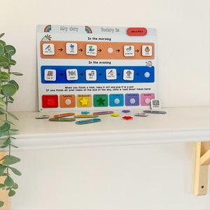 Children's Morning and Evening Routine Chart with Tokens - Rainbow