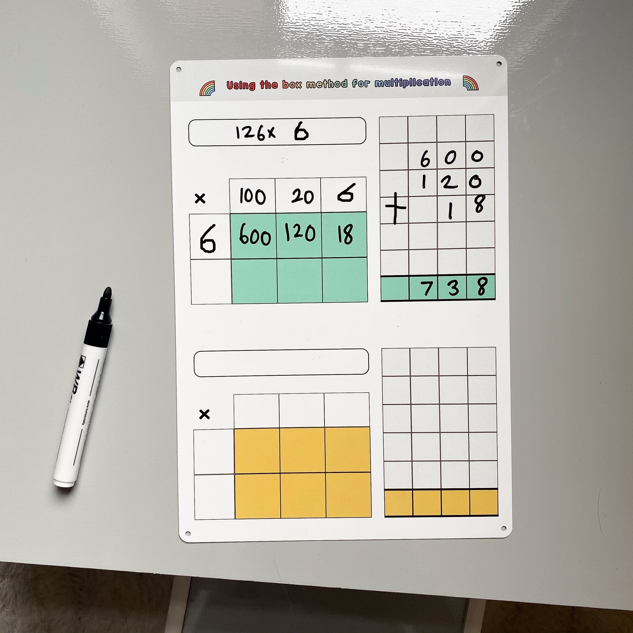 Box Method Multiplication Practise Whiteboard