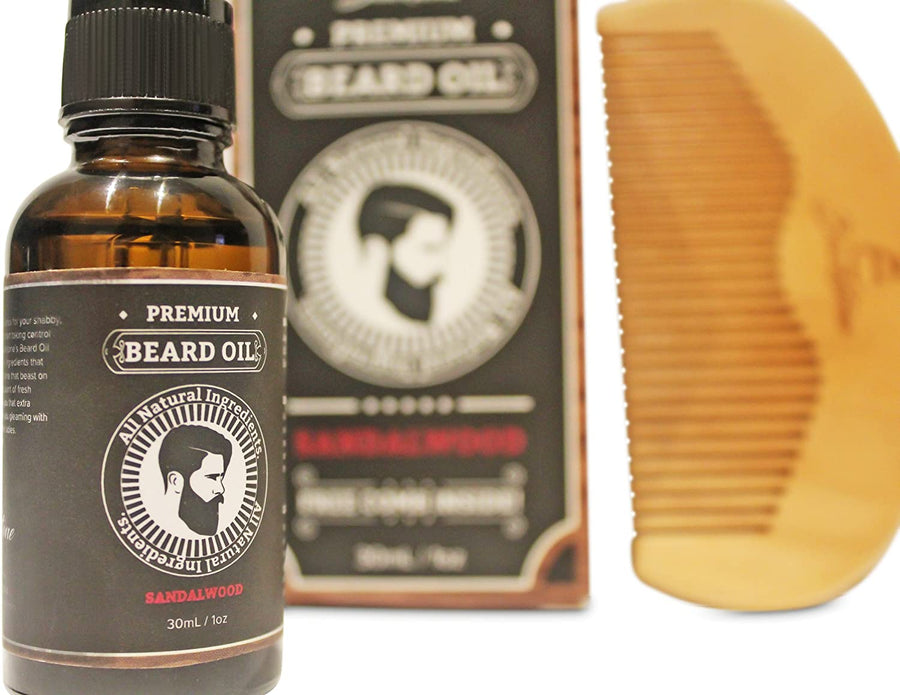 Sandalwood Beard Oil Kit - All Natural Beard and Mustache Conditioner 30mL- Argan Oil, Jojoba Oil, Vitamin E Oil, Chamomile Oil and Sandalwood Oil