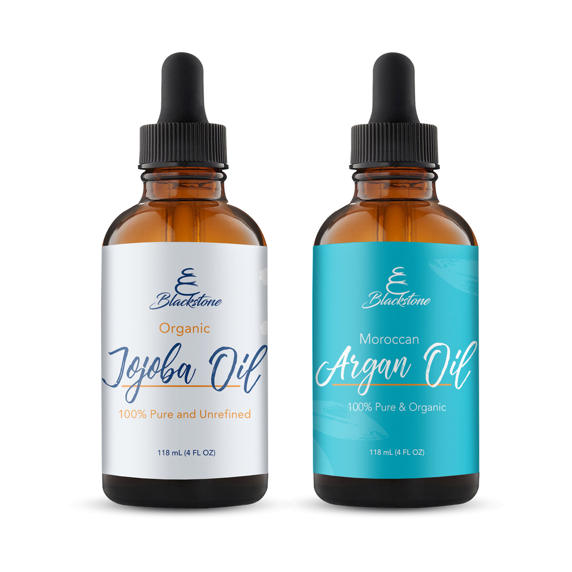 Deluxe Beauty Kit - 2 pack Organic Moroccan Argan Oil and Jojoba Oil 4oz each - All Natural Moistuizer for Hair, Face and Body