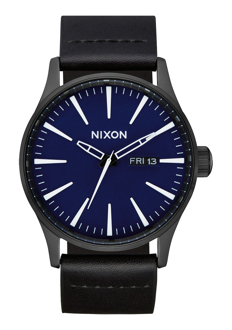 SENTRY LEATHER , 42 MM All Black / Dark Blue A105-2668-00