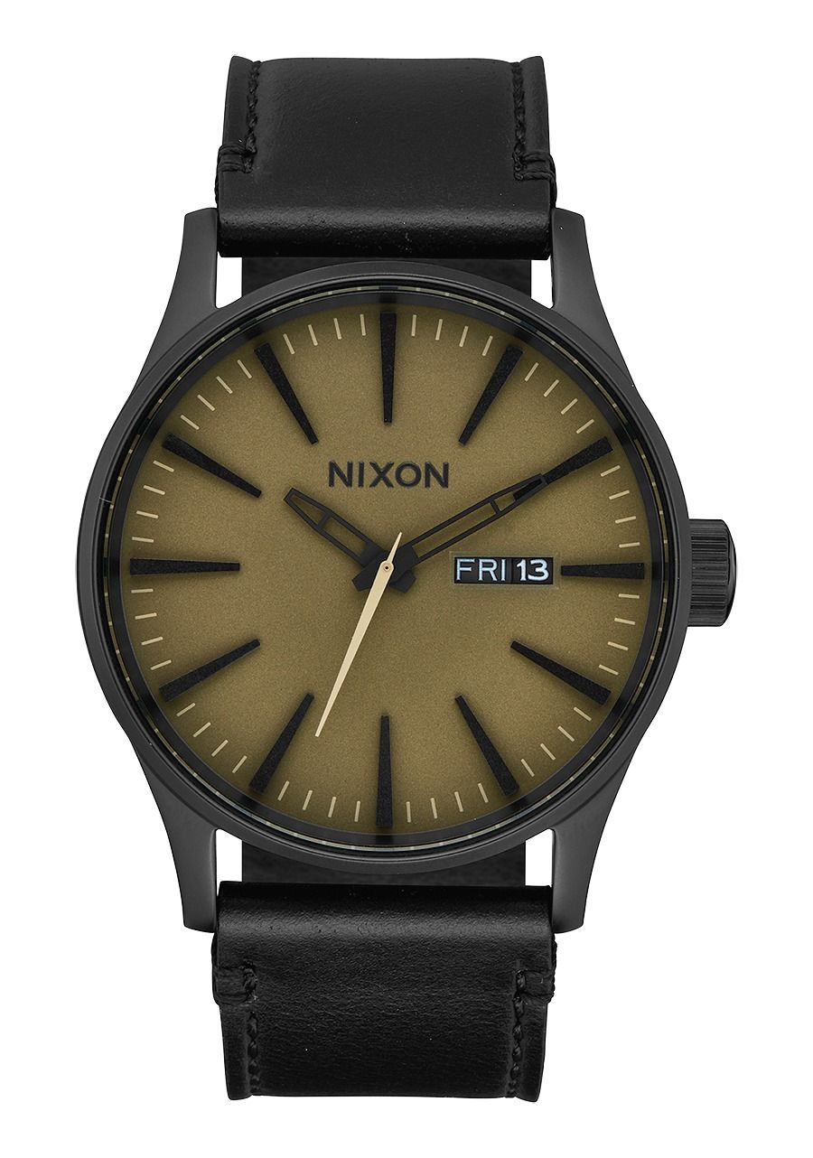 SENTRY LEATHER , 42 MM Black / Matte Sage / Black A105-2988-00