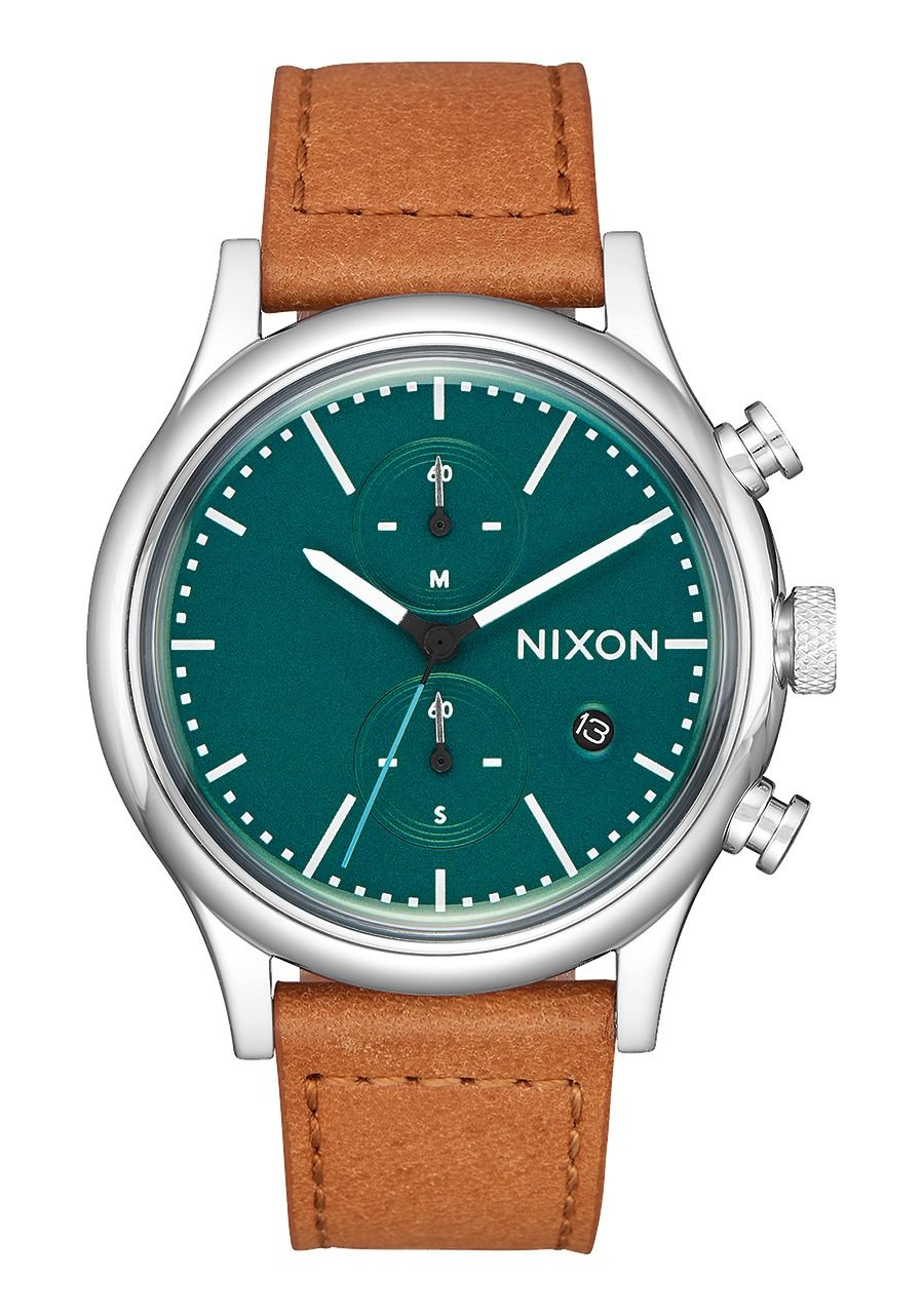 STATION CHRONO LEATHER , 41 MM Dark Green/Saddle A1163-2535-00
