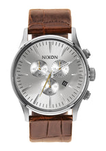 KHAKI Nixon Sentry Chrono Leather Saddle Gator