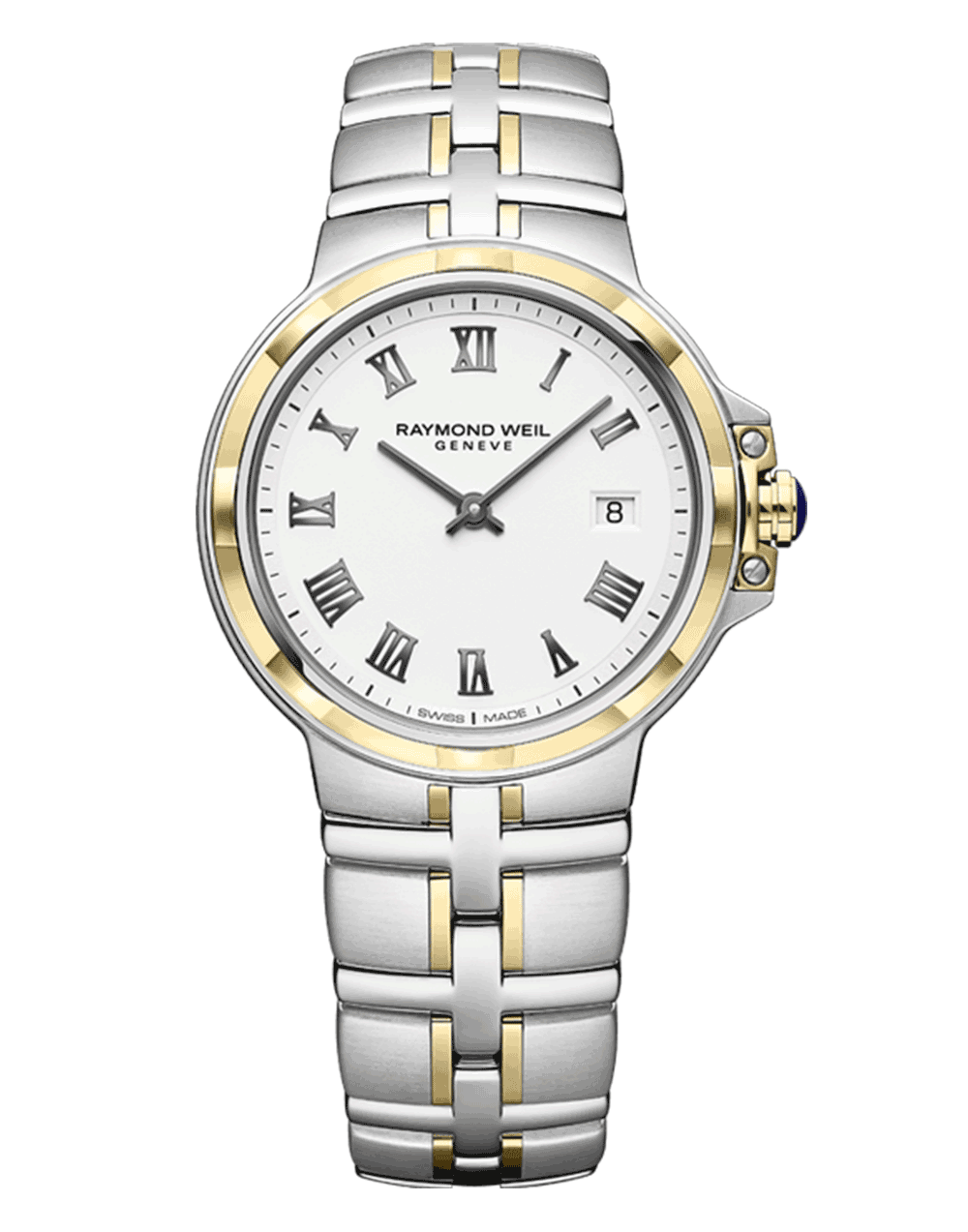 Parsifal Ladies Quartz Classic White Dial Two-Tone Watch, 30mm 5180-STP-00300