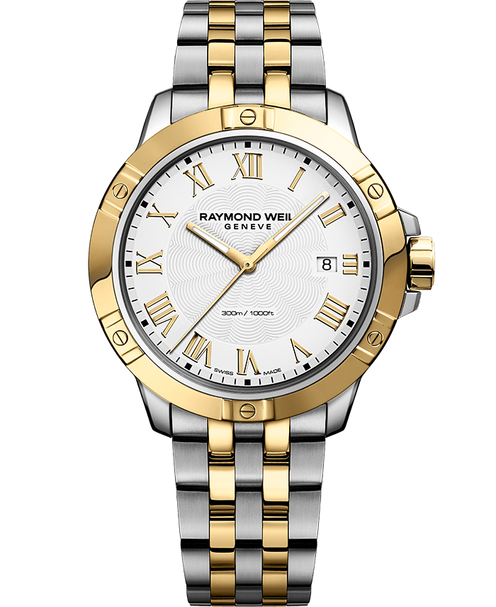 Tango Classic Men's Two-tone Gold White Dial Quartz Steel Bracelet Watch, 41mm 8160-STP-00308