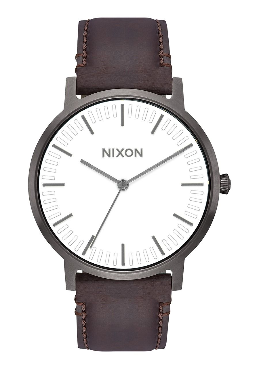 PORTER LEATHER , 40 MM Gunmetal / White / Brown A1058-2368-00