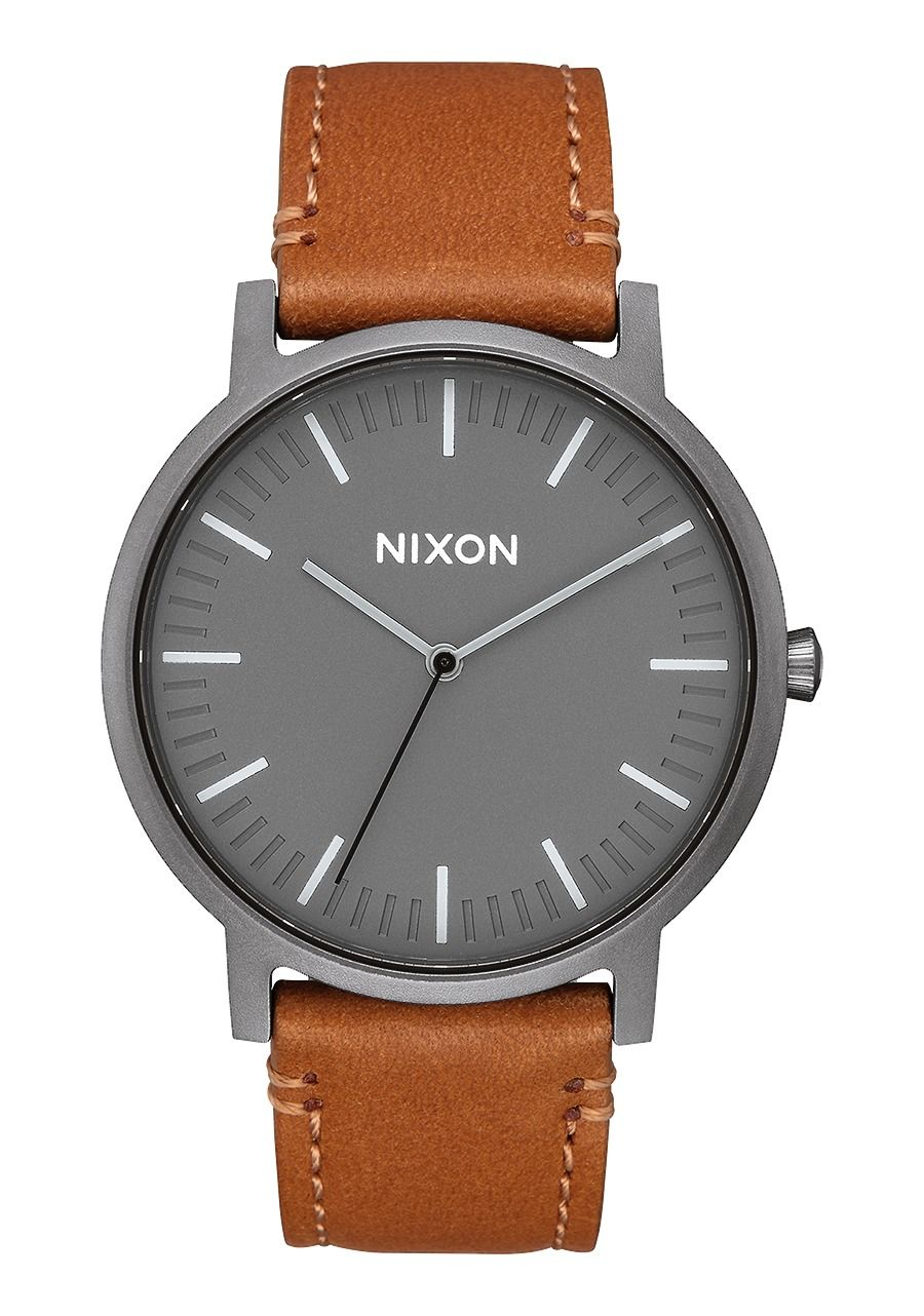PORTER LEATHER , 40 MM Gunmetal / Charcoal / Taupe A1058-2494-00