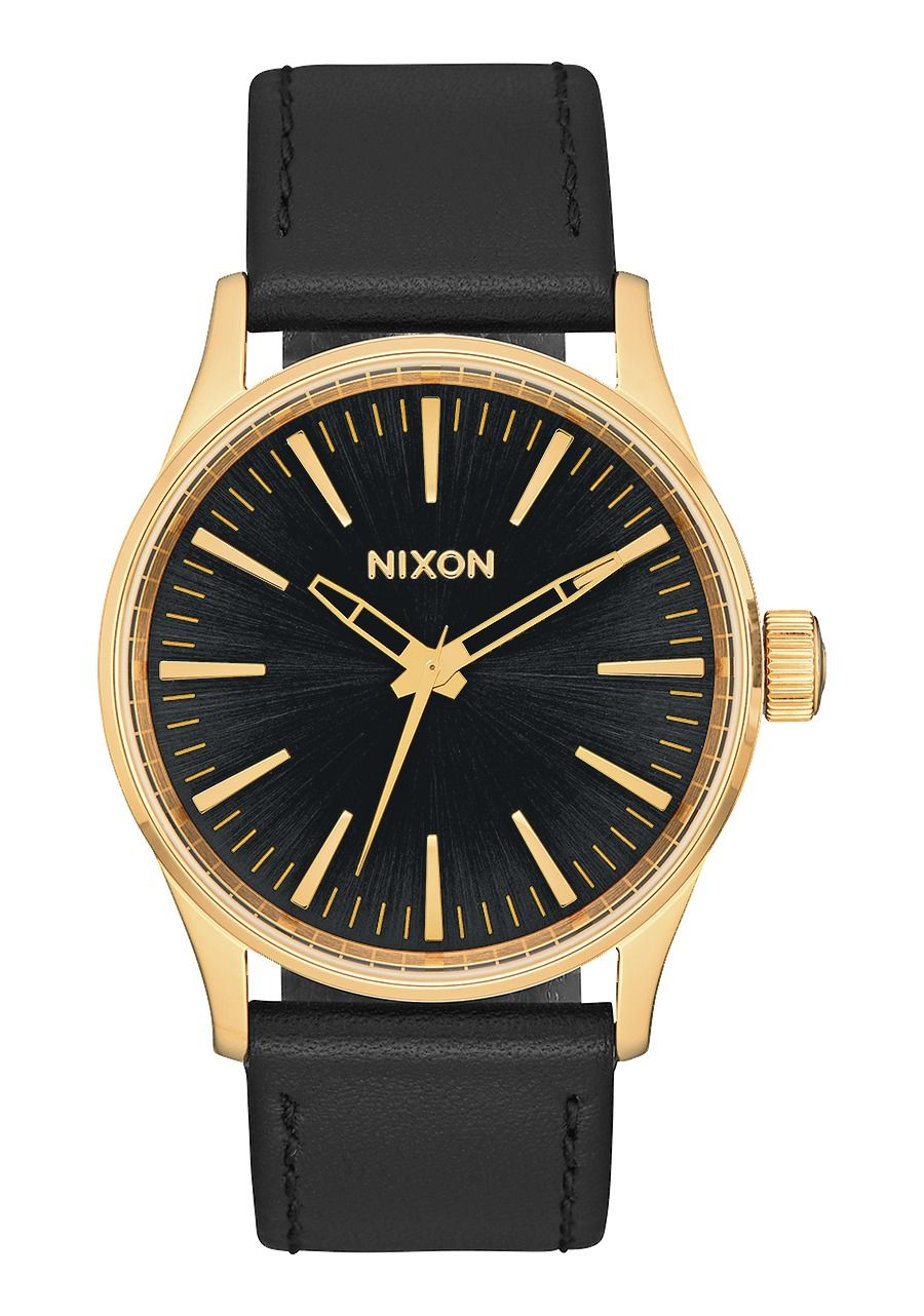 SENTRY 38 LEATHER , 38 MM Gold / Black Sunray A377-1604-00