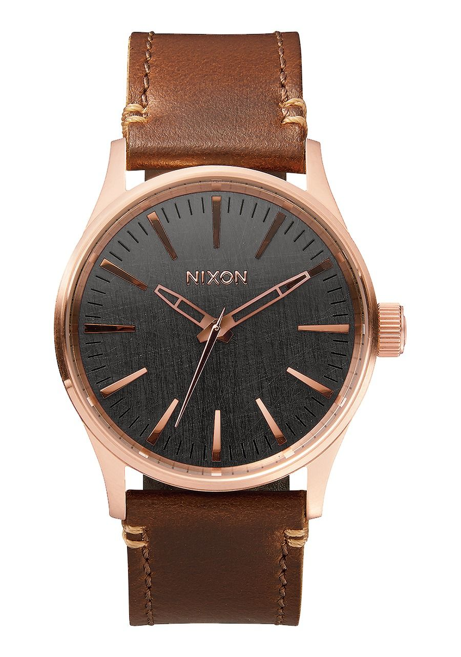 SENTRY 38 LEATHER , 38 MM Rose Gold / Gunmetal / Brown A377-2001-00