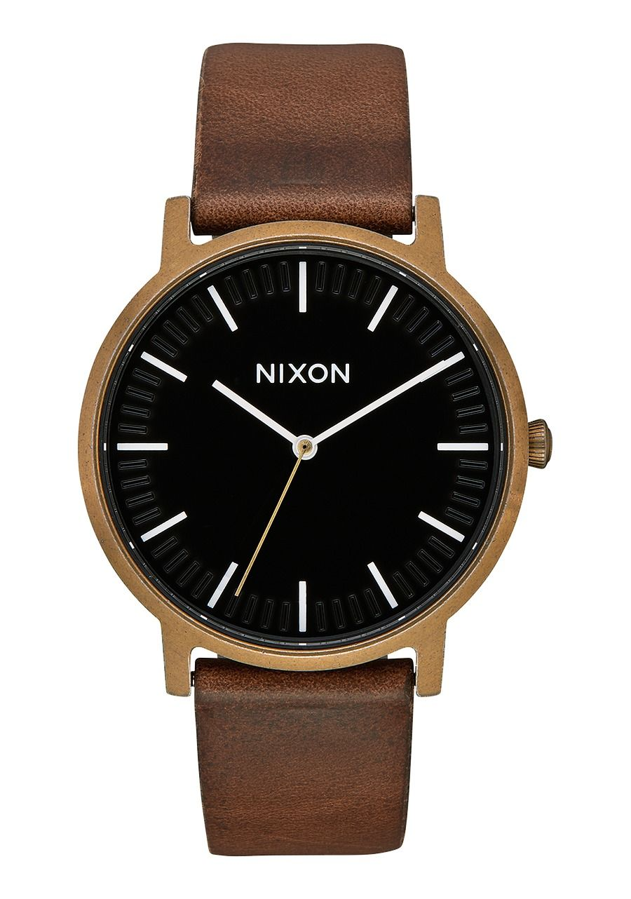 PORTER LEATHER , 40 MM Brass / Black / Brown A1058-3053-00