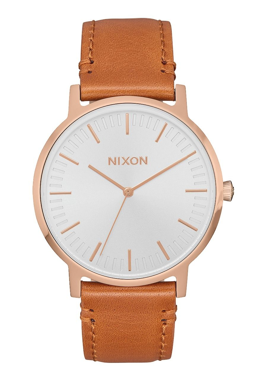 PORTER LEATHER , 40 MM Rose Gold / White / Saddle A1058-2940-00