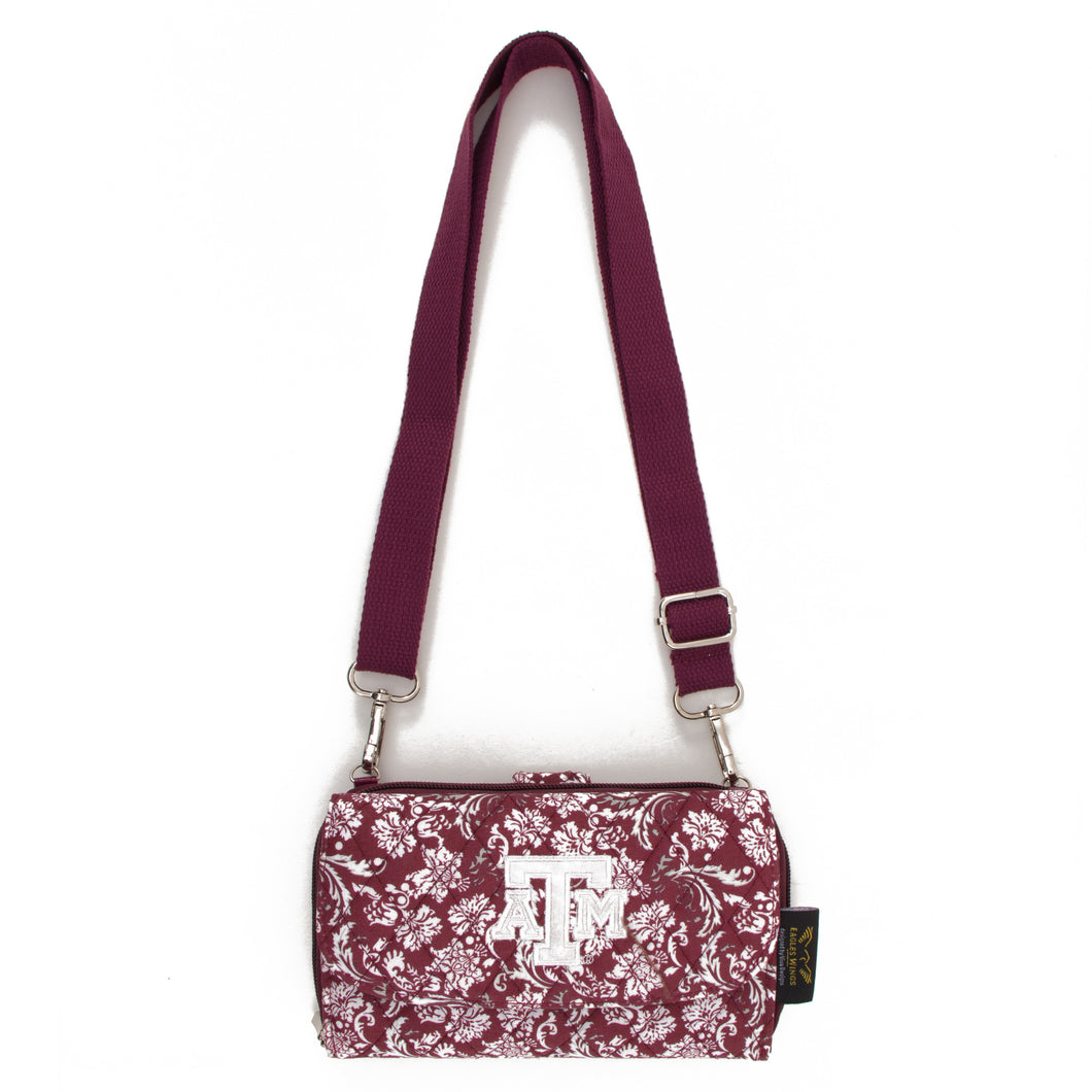 Texas A&M Aggies Cross Body Quilted Cotton Wallet