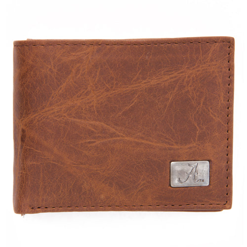 Alabama Crimson Tide Brown Bi Fold Leather Wallet