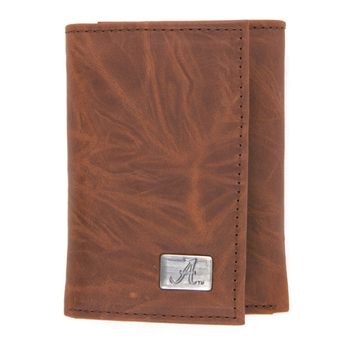 Alabama Crimson Tide Brown Tri Fold Leather Wallet