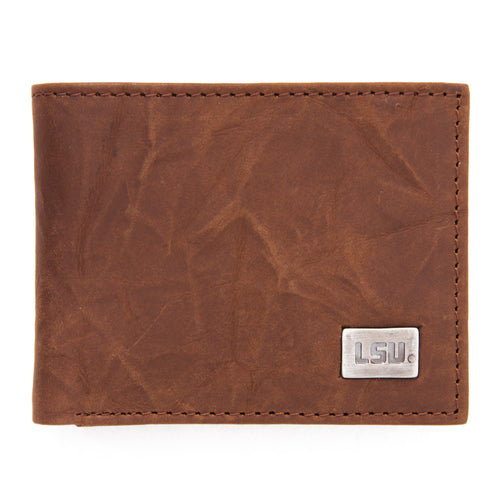 LSU Tigers Brown Bi Fold Leather Wallet